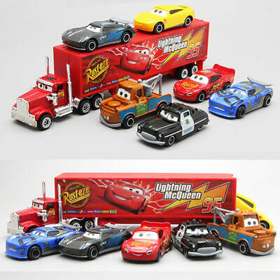 7Pcs/ Set Car 2 Lightning McQueen Racer Car&Mack Truck Collection Toys Kids Gift