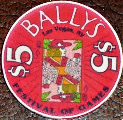 Old $5 BALLY'S Casino Poker Chip Vintage Chipco Mold Las Vegas Festival of Games