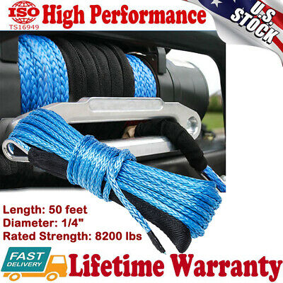 "1/4"" x 50' Synthetic Winch Rope Line Cable 8200LBS UTV ATV SUV W/Sheath Recovery"