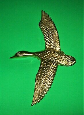 LARGE VINTAGE HEAVY ~ SOLID  BRASS Flying Goose Door Knocker  Penco Hardware 10""