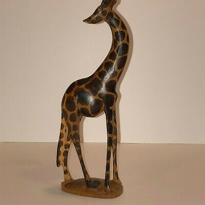 """Hand Carved Wood Giraffe 8"""" Tall Carving Statue Figurine"""
