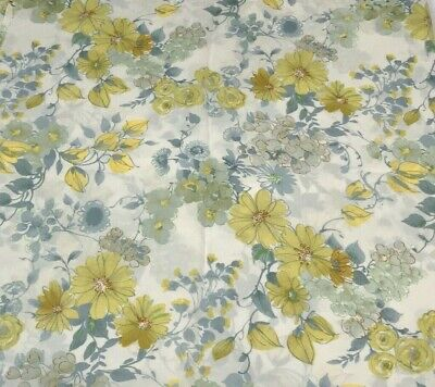 Vintage Fabric Cotton Yellow Floral Flowers Daisies Rose 1970s 1960s Mid Century