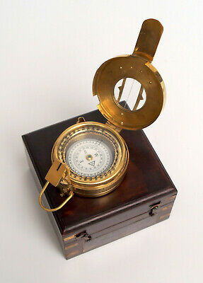 Vintage brass military engineering compass prismatic nautical with wooden box