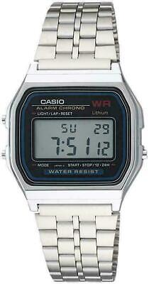 Casio Vintage A159W Retro Silver Stainless Steel Digital Unisex Watch Large Silv