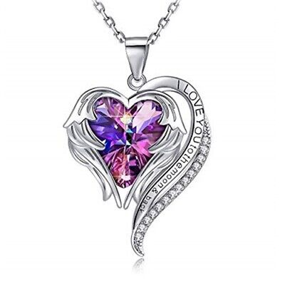 "Heart Crystal Necklace for Women 18"" White Gold Plated Angel Wing Pendant Gift"