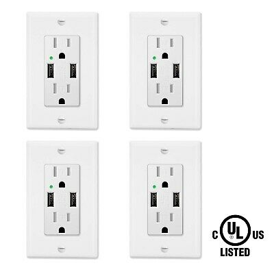 4 Pack 15A Tamper Resistant Receptacle w/ 2 USB Port Outlet Fast Charger 4.2A UL