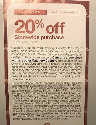 Target 20% Off Coupon Online Valid 12/3-12/14/19 ! CHECK EXCLUSIONS
