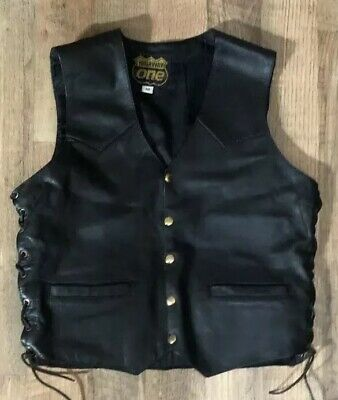 Men's Highway One Genuine Leather Motorcycle Vest Black Size Medium