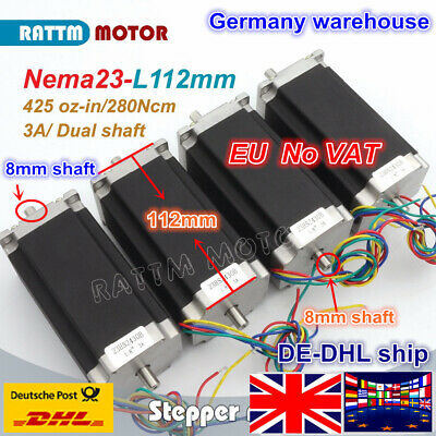 【EU】 4Pcs Nema23 Dual shaft L112mm Stepper Motor 425Oz-in for CNC Router Machine