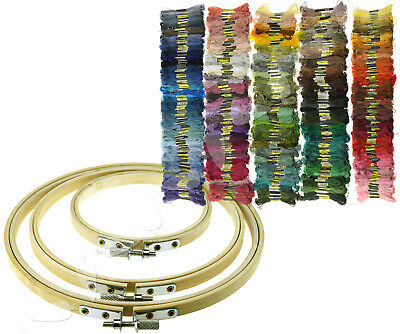 Cross Stitch Embroidery Accessories Bamboo Hoops/Different Colors Thread Skeins