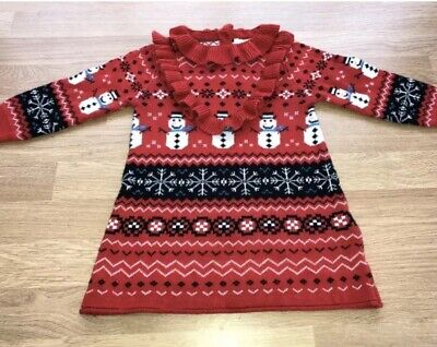 🎄Next Baby Girls Christmas Snowman Jumper Dress Age 6-9 Months Mint Condition🎄