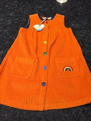 BNWT Jools Oliver Little Bird orange Cord Rainbow dress age 3-4years