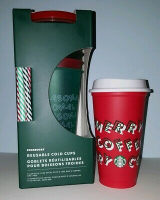 Starbucks 2019 Holiday Christmas Reusable Cold Cups 5 pack w/ Straws + Red Cup