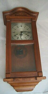 Lincoln 31 Days Movement Wooden Wall Hanging Clock Key Winding Vintage Beautiful