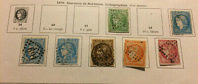 Lot 7 timbres France YT42 à YT49 1870 Emission de Bordeaux
