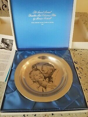 1971 Franklin Mint Norman Rockwell Christmas Plate Sterling 173.5 Grams W/BOX