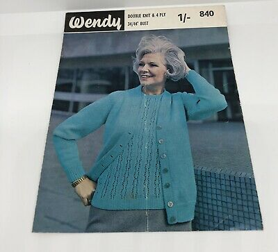 "Wendy Vintage Knitting Pattern Twin Set Cardigan & Lacy Jumper 34""-44"" DK & 4Ply"
