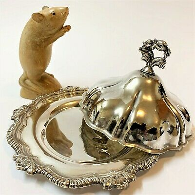 Viners Sheffield UK 2pc Silverplate Covered Dish Tray 17.5cm Wide Scalloped Edge