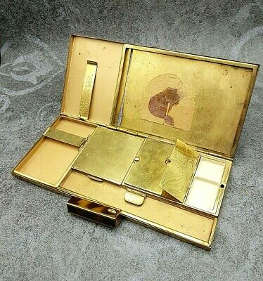 Vintage Compact Case By Charmeuse FRANCE Powder Makeup Mirror vanity Lipstick