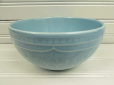 Alemany by Gibson Soup Cereal Bowl All Light Blue Embossed Floral Vines b53