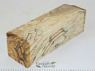 English Spalted Beech woodturning or wood carving blank.  60 x 60 x 205mm. 4144A