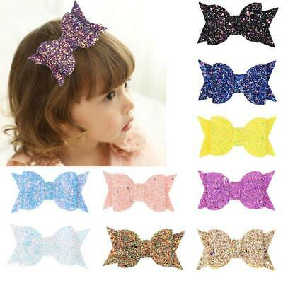 Bow Hair Clips Glitter Kids Bowknot Hairpins Girl Headwear Barrettes CA X