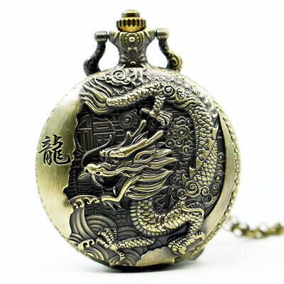 Large bronze embossed Chinese style nostalgic retro big dragon pocket watch O3G3