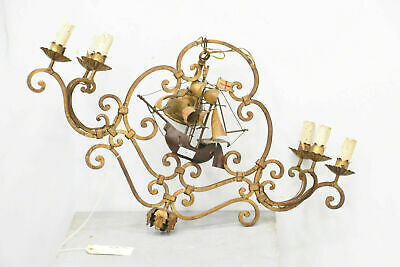 Rare Unusual Antique Bronze French Wrought iron Ship boat chandelier 6 lamps