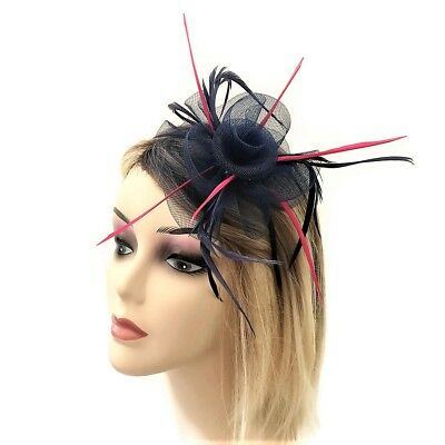 Navy Blue Pink Fascinator on Headband with Feathers  Rosette shape