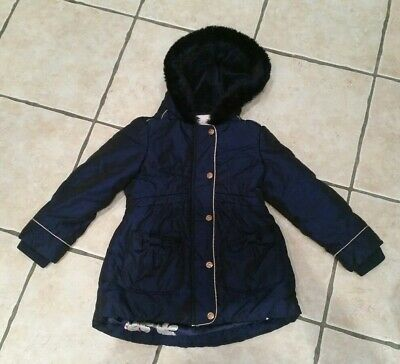 Warm Padded Winter Girls Navy Ted Baker Coat Age 4-5 Fur Hood Trim
