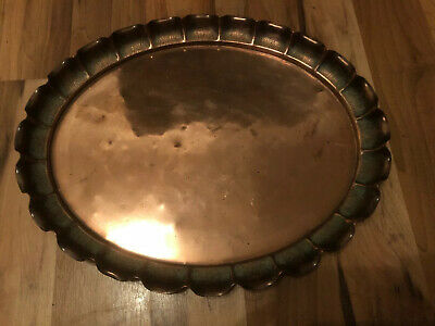 Joseph Sankey Antique 1900's Copper Oval Tray Arts & Crafts English