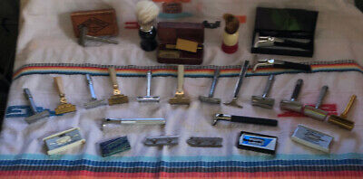 Vintage Miscellaneous Lot, Gillette, Schick, Gem, Bladds, Brushes