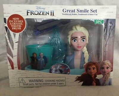 NEW Disney Frozen 2 Elsa Great Smile Oral Care Set Brush Rinse Cup and Holder