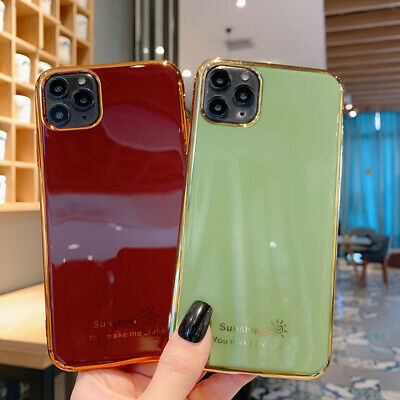 For iPhone 11 Pro Max XS XR 8 7 Plus Glossy Plating TPU Soft Silicone Case Cover