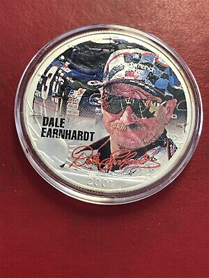 2001 American Silver Eagle Dale Earnhardt Colorized 1oz Silver Round with COA