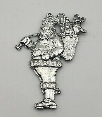 Vintage Gorham 1984 Silverplate Santa Carrying Bag of Presents Ornament 8462