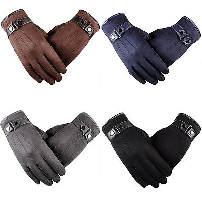Mens Touch Screen Leather Gloves Thermal Fleece Lined Black Driving Winter Gift