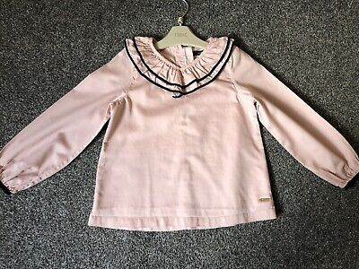 M&S Autograph pale pink 100% cotton V-neck long sleeve top Frilly Neck Age 6-7