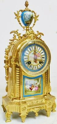Antique French 8 Day Striking Bronze Ormolu & Blue Sevres Porcelain Mantel Clock