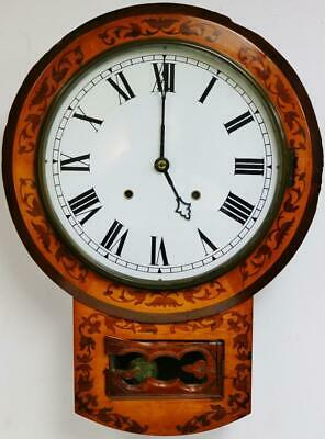 Beautiful Antique American 8 Day Striking Marquetry Inlaid Drop Dial Wall Clock