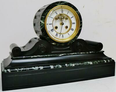 Antique French 8 Day Striking Slate Drum head Mantel Clock, Visible Escapement