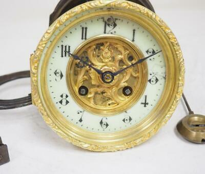 Antique French 8 Day Bell Striking Enamel Dial Clock Movement Spares Or Repair
