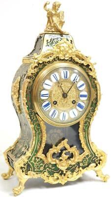Rare Antique French Inlaid Boulle Bracket Clock 8 Day Green Shell Mantel Clock