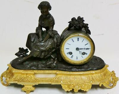 Antique French Lady Figure Mantel Clock  8 Day Bell Striking 2 Tone Gilt Bronze