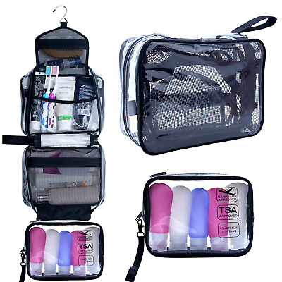 Hanging Toiletry Bag, Clear Travel Toiletry Bag with Detachable TSA Approved Bag