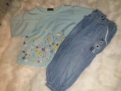 Girla 3-4 Years Top Floral cropped Trousers Jeans shorts outfit bundle Next Day