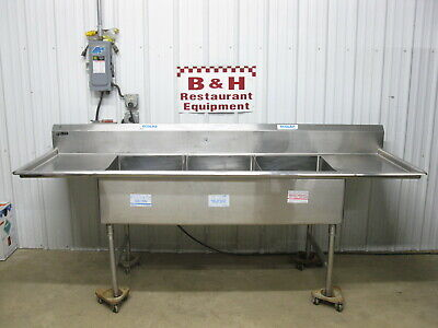 """100"""" Universal Stainless Steel Heavy Duty Three Bowl 3 Compartment Sink 8' 4"""""""
