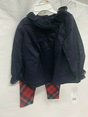 Ralph Lauren 2-Piece Outfit Black/Red Plaid Baby Girls Set Size 12 Months NWT