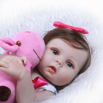 "22"" Reborn Baby Doll Realistic Newborn Girl Toddler Handmade Vinyl Silicone Gift"