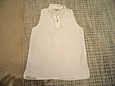 Next Ladies White Sleeveless Collared Long Top Size 12